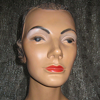Lovely Vintage 1930'S MARLENE DIETRICH Mannequin Head PLASTER Millenary Display