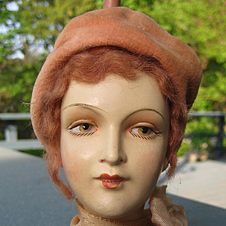 1920s Lovely VINTAGE FRENCH Millenary Display HAT STAND Mannequin Head