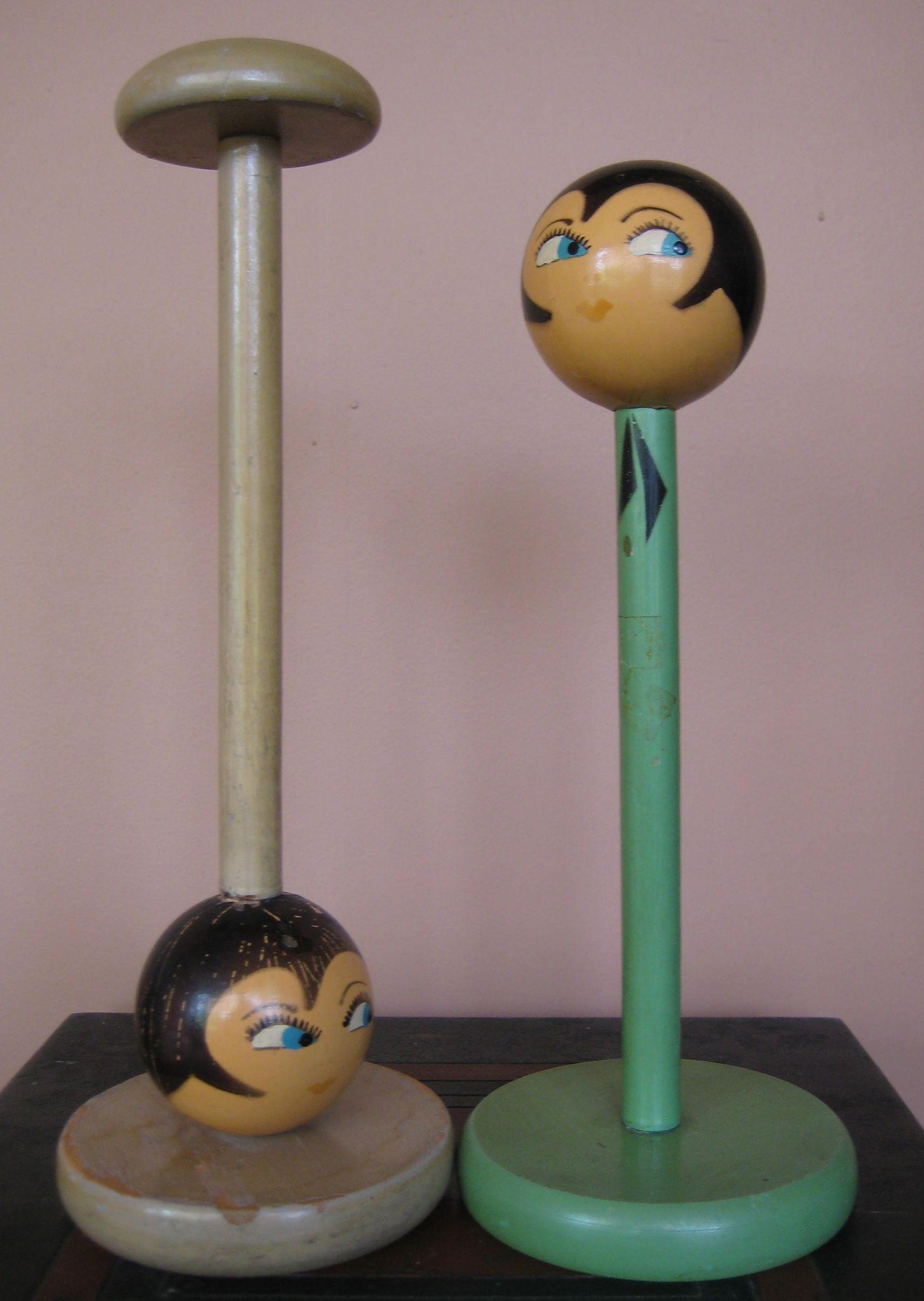 2 Whimsical 1920's GOOGLY EYED Hat Stand (s) MILLENARY Display Mannequin Head (s)