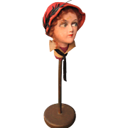Mischievous Flirtatious 1920s FRENCH HAT STAND Millenary Display Mannequin Head