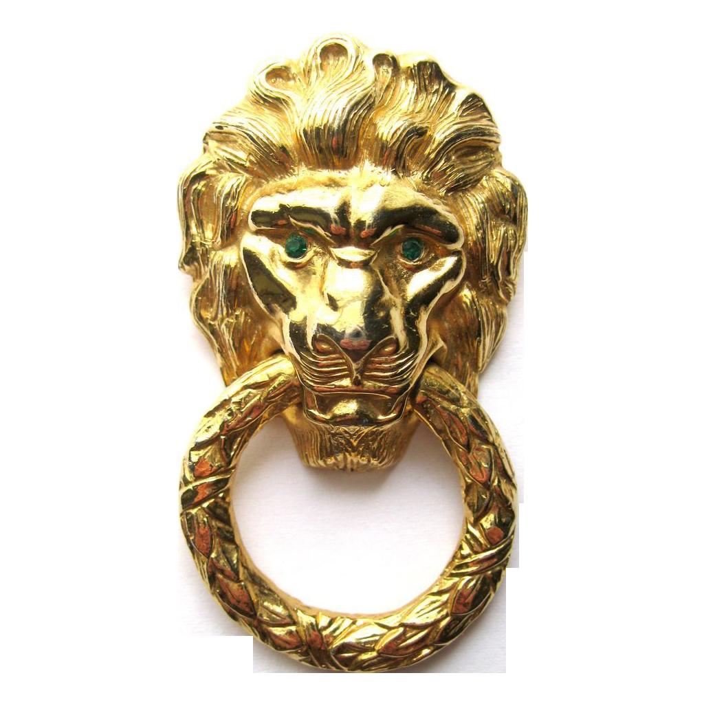 Rare Vintage Castlecliff Door Knocker Lion Brooch Sold
