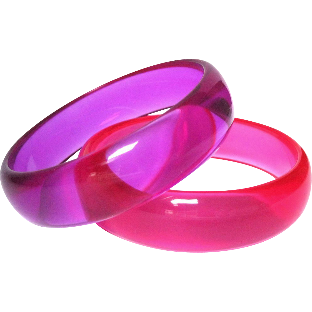 Vintage Purple & Pink Jello Lucite Bangle Bracelet Set ...
