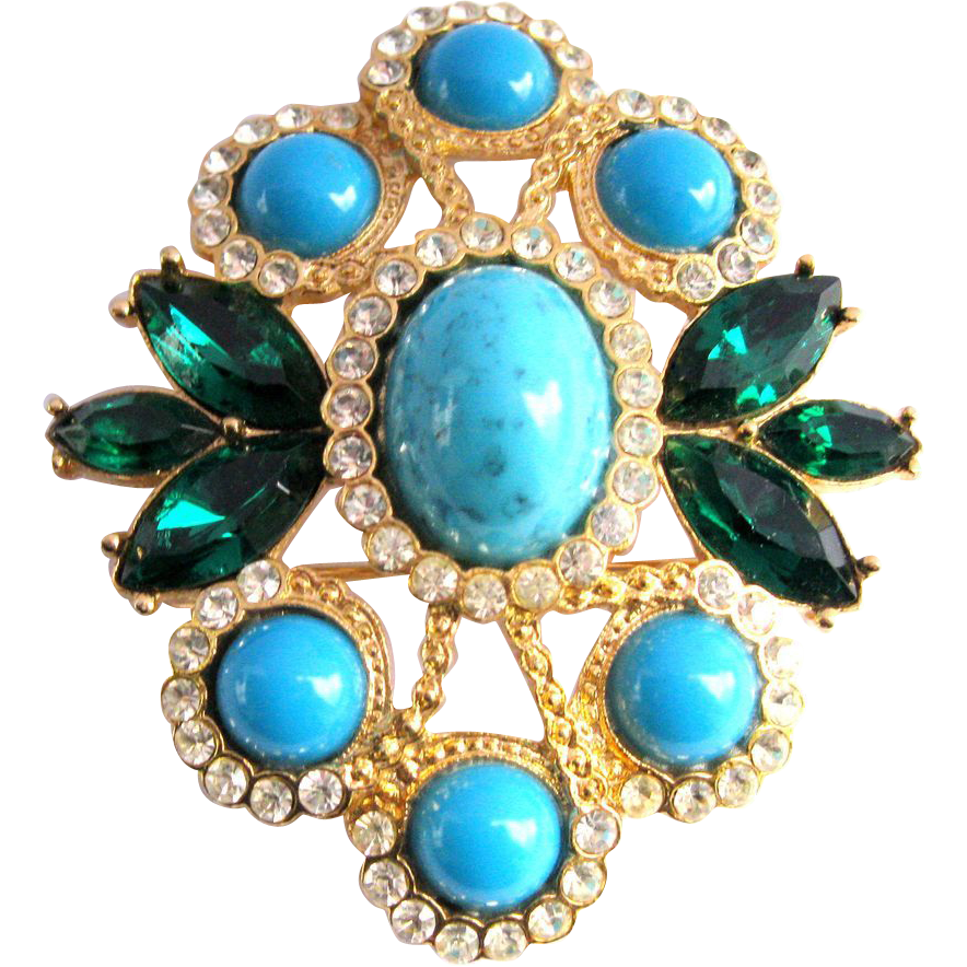 Big vintage 1969 sarah coventry maharani brooch pendant w big vintage 1969 sarah coventry maharani brooch pendant w turquoise sold ruby lane aloadofball Choice Image