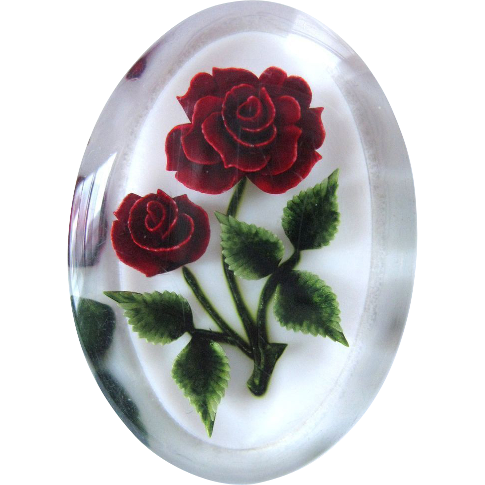 vintage encased red rose flower lucite brooch sold