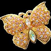 Vintage Sparkling Graziano Pink Rhinestone Butterfly Brooch