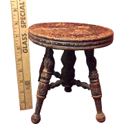 Hard To Find Child's Round Wooden Piano Stool