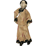 Tiny Vintage Cloth Asian Male Doll3 and 1/2 Inches Tall