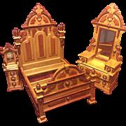 Vintage Fantastic Furniture Miniature Taiwan MIB Victorian Bedroom Set Signed
