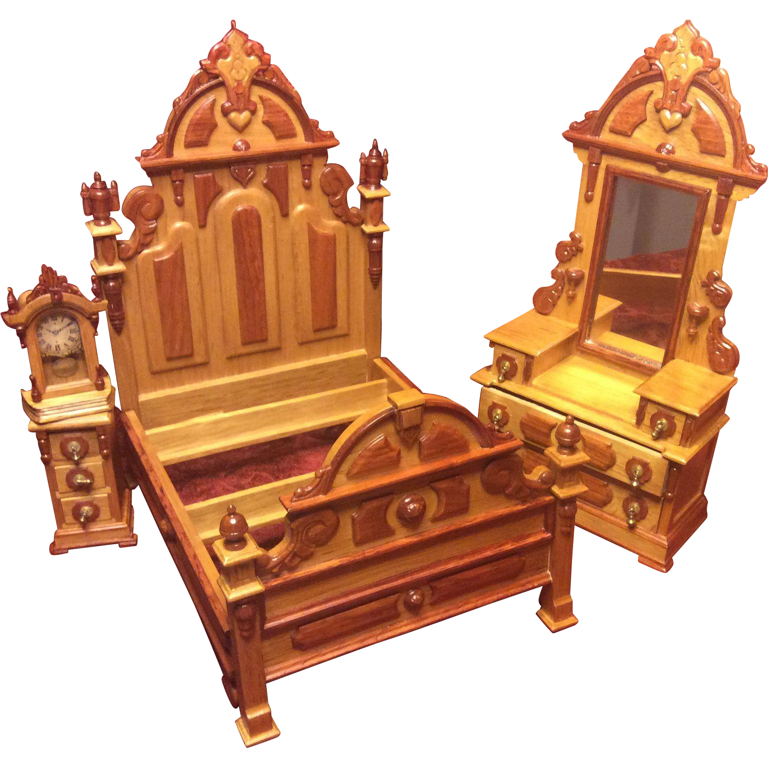 vintage fantastic furniture miniature taiwan mib victorian bedroom set