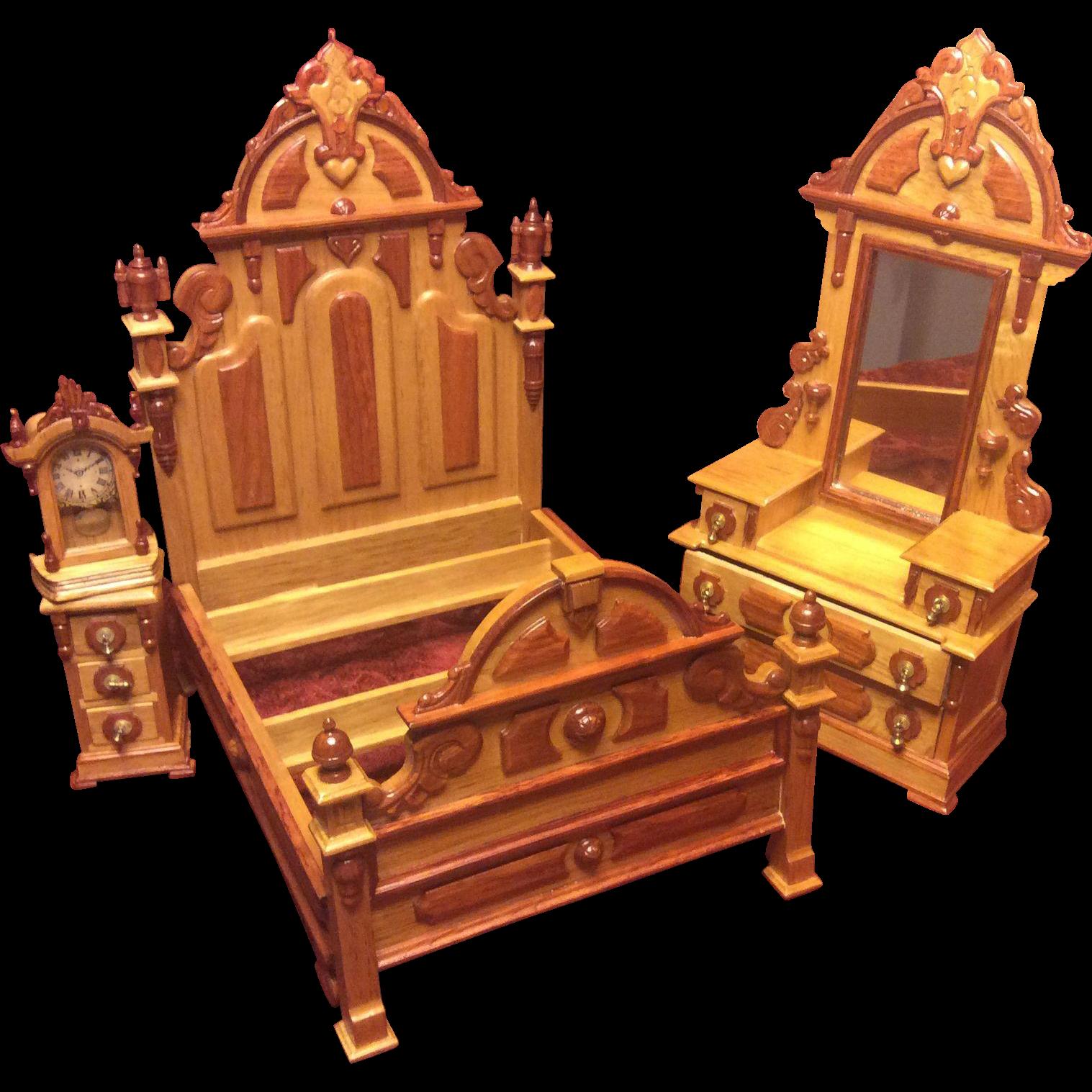 Vintage Fantastic Furniture Miniature Taiwan MIB Victorian Bedroom Set