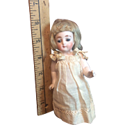 "Antique 5 & 1/2 "" German Wigged All Bisque All Original Doll"