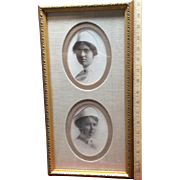 Great Vintage Double Portrait of Nurses Gold Frame