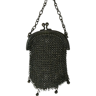 Wonderful Victorian Tiny ChainMail Finger Ring Coin Purse