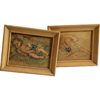 Cute Pair Of Framed Puffy Pictures Of Sleeping Babies
