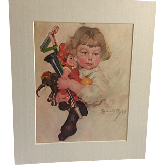 Small Matted Vintage Print Of Child With Schoenhut Elephant and Doll