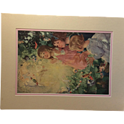 Vintage Art Print Children With Fairy and Birds
