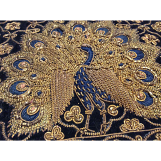 Pair Of Vintage Indian Embroidered Clutch Purses One Peacock One Medallion