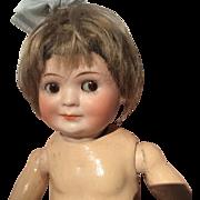 """10 & 1/2"""" Antique German Bisque Bahr & Proschild Googlie Side Slant BJ Toddler Body With Trunk & Clothes"""