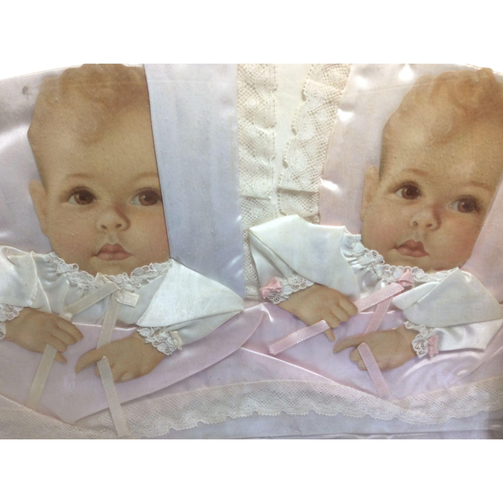 Vintage Framed Twin Babies Trimmed in Satin And Lace Boy And Girl