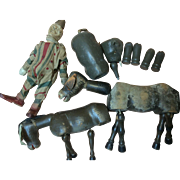 Schoenhut Vintage Clown, Elephant, 2 Donkeys As Is Repair, Restore,