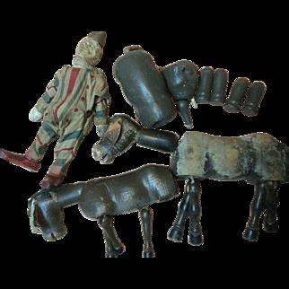 Schoenhut Vintage Clown, Elephant, 2 Donkeys As Is Repair, Restore,