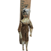"""4"""" Rare Antique Carved Jointed Wooden Doll"""