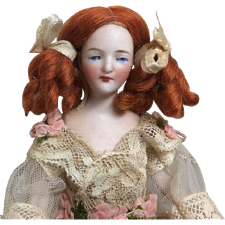 """6 and 1/2 """" Antique German Bisque Dollhouse Doll Jointed Arms"""