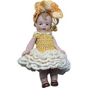 "3"" antique German all Bisque Mibs doll by Louis Amberg and Sons."