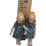 """Antique All Bisque German Twin Girl Dolls 2 and 1/2"""""""
