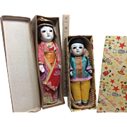 Darling Small Bisque Pair Of Asian Mint Dolls In Original Boxes