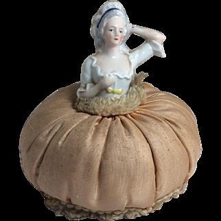 Small Vintage German Half Doll Pin Cushion Doll