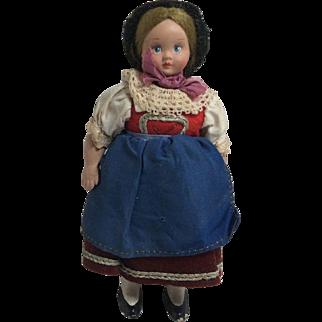 """Vintage 5 and 1/2"""" Hard Plastic Costume Doll"""