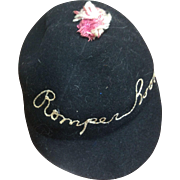 Child's Rare Romper Room Embroidered Felt Hat 1953