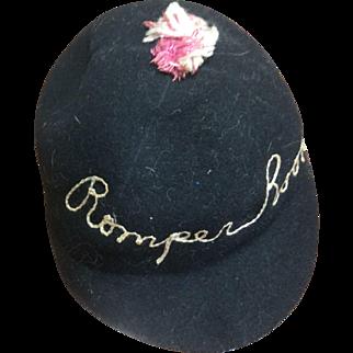 Child's Rare Romper Room Embroidered Felt Hat 1953