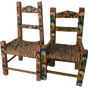 """Pair Of Doll Size Vintage Mexican Painted Chairs 8 and 1/2 and Appx 9 """" Tall"""