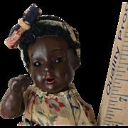 "9"" Black German Bisque Red Stocking Girl Compo Body All Original"