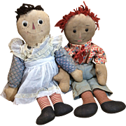 Rare Pair Of 1915 Volland Raggedy Ann And Andy Cloth Dolls 16""