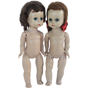 Pair of Madame Alexander Vintage Dolls Hard Plastic Walkers Alex Mark