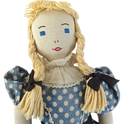 "15"" Handmade Cloth Doll All Original Edith Flack Ackley"