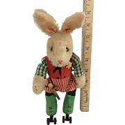 "Rare Schuco Key Wind Skating Dressed Rabbit Appx 9"" Tall Fully Marked All Original"