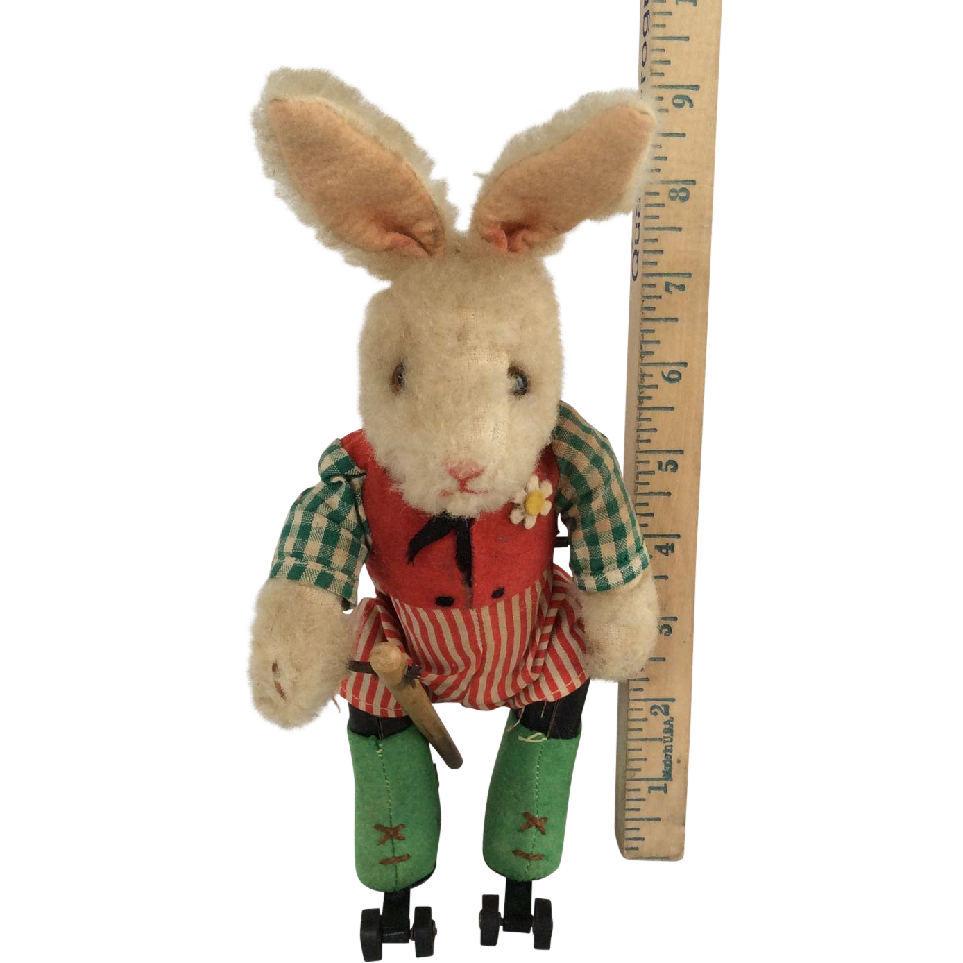 """Rare Schuco Key Wind Skating Dressed Rabbit Appx 9"""" Tall Fully Marked All Original"""