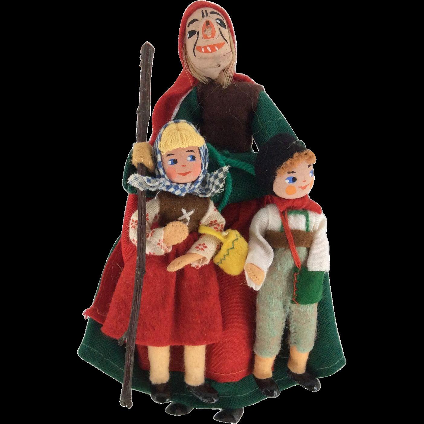 Beautiful Rare Set Of German Baps Witch, Hansel, and Gretel Dolls Metal Feet
