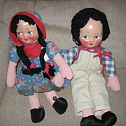 Cloth Boy and Girl Rag Dolls Wonderful Pair