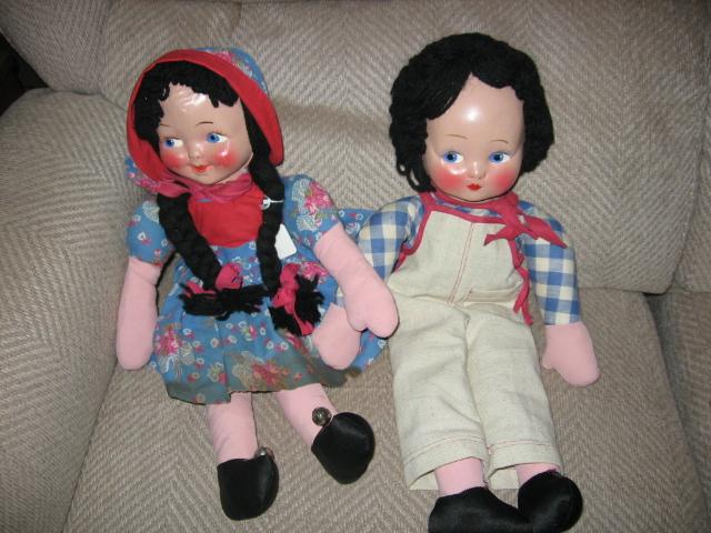 Cloth Boy and Girl Rag Dolls Wonderful Pair