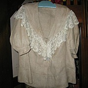 Victorian Childs Coat Linen and Lace Beauty for Large Antique Doll