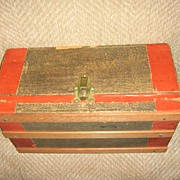 Antique Wooden Doll Trunk with Simulated Wood Grain Paper Litho