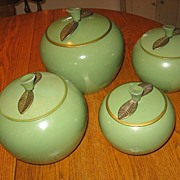 Retro 1950s Canister Set Green Aluminum Apples with Brass Leaves