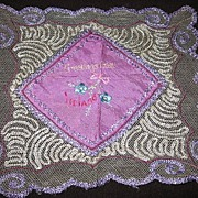 Lovely Lavender and Lace Souvenir Hankie from Ireland Childs Silk Hanky