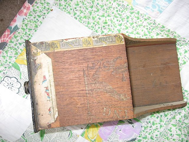 Folk Art Cigar Box Art Wooden Scoop Tobacciana