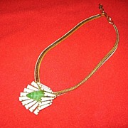 Schreiner Signed Necklace Keystone and Art Glass Flower Beauty